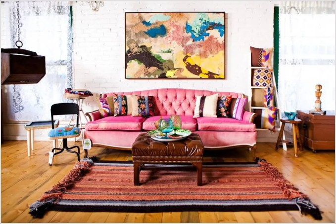Ethnic Over Dyed Striped Rug