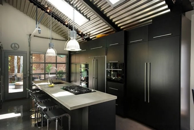 Indsutrial Kitchen with Skylights