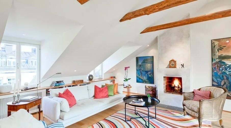 15 Lively Orange Living Room Design Ideas: 15 Utterly Bold And Sleek Attic Living Room Design Ideas