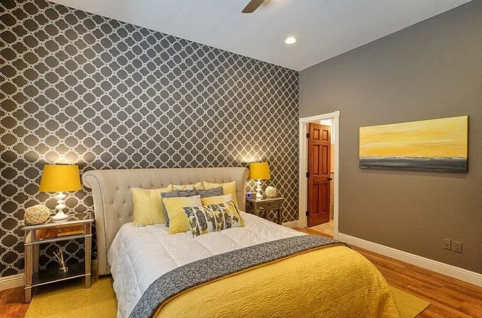Modern Gray and Yellow Bedroom