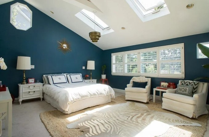 Navy Blue Bedroom with Skylights