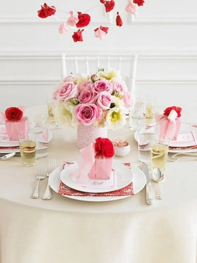 Romantic Pink Themed Valentine's table setting