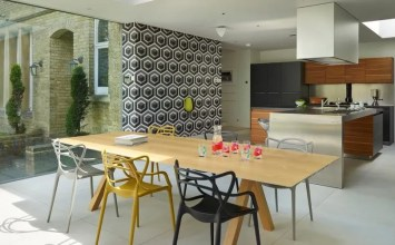 Geometric Wallpaper in 8 Bold Dining Room Designs