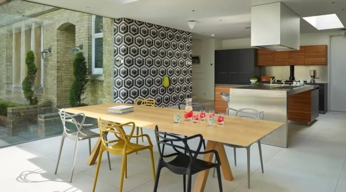 Amazing Dining Room with Geometric Wallpaper