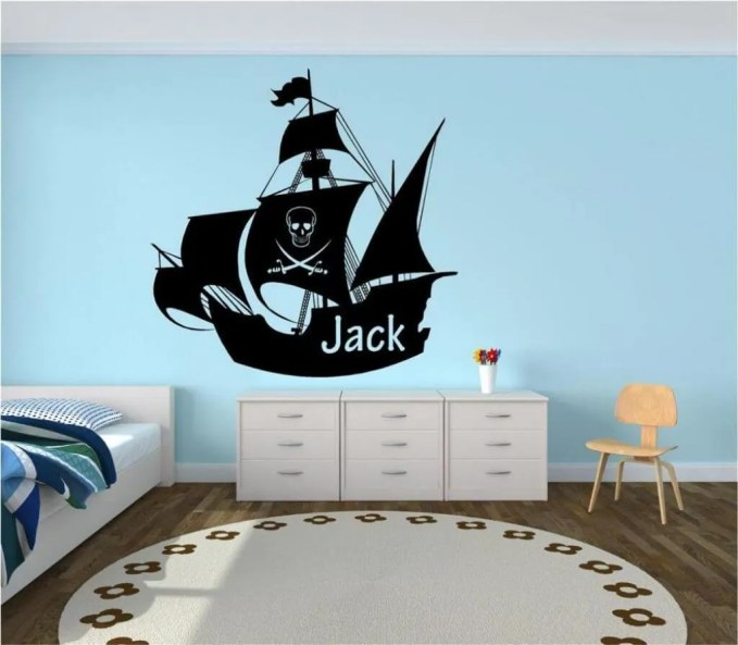 BLue Pirate Themed Kid's Bedroom