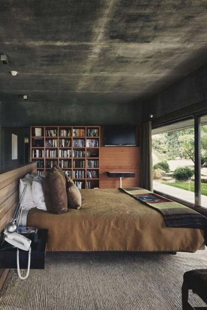 BOld Bedroom with Concrete Wall