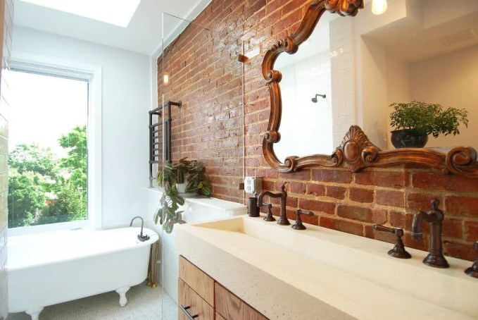 Bold Bathroom with Brick Walls