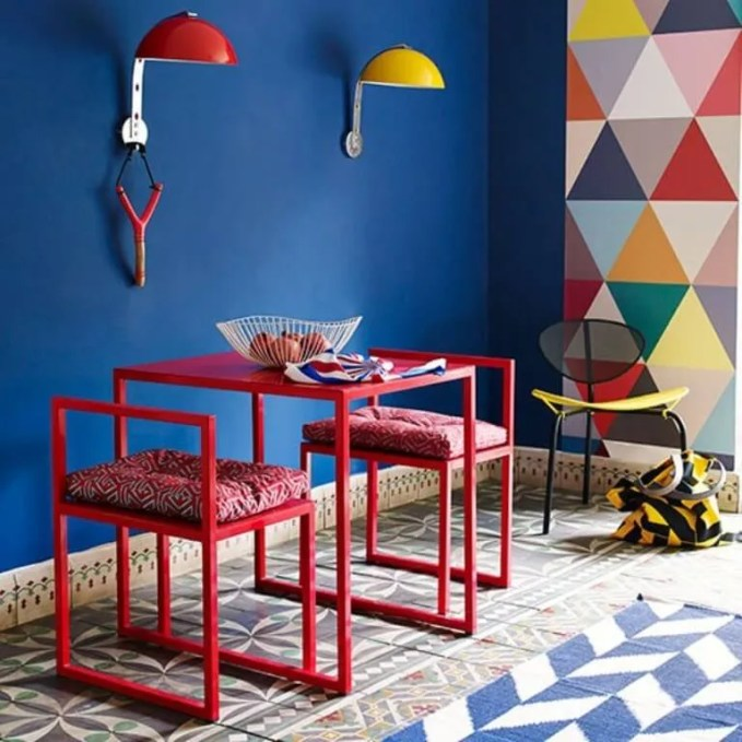 Bright Dining Room with Geometric Wallpaper