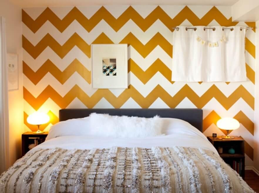 Geometric wallpaper in 10 bold bedroom ideas https for Chevron bedroom ideas