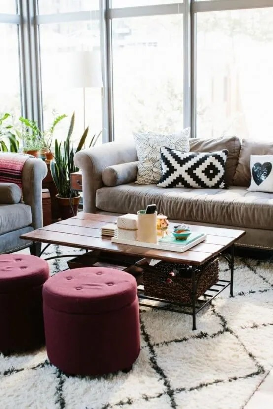 Chic Living Room with Marsala Ottoman