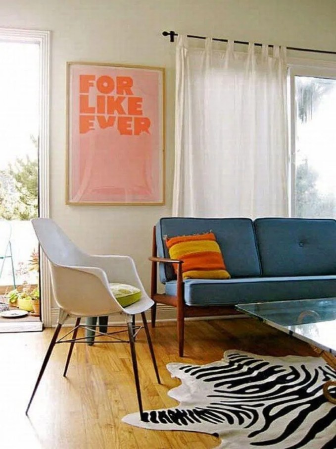 Cool Mid Century Living Room with Zebra Rug