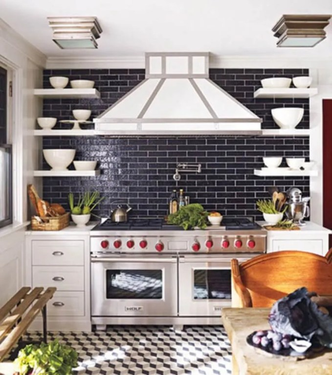 Eclectic Kitchen with Subway Tile