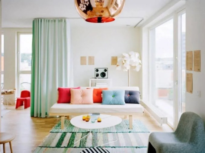 Ecstatic Living Room with Copper Pendant