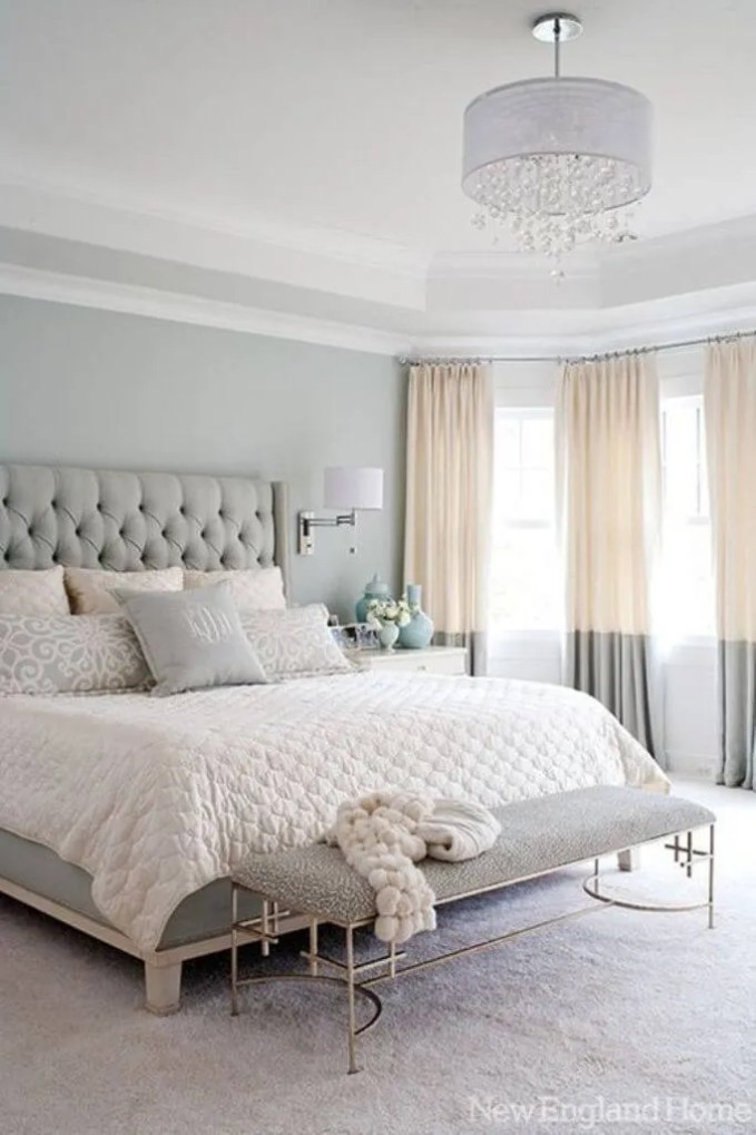 Gray and Cream Colro Block Bedroom Drapes
