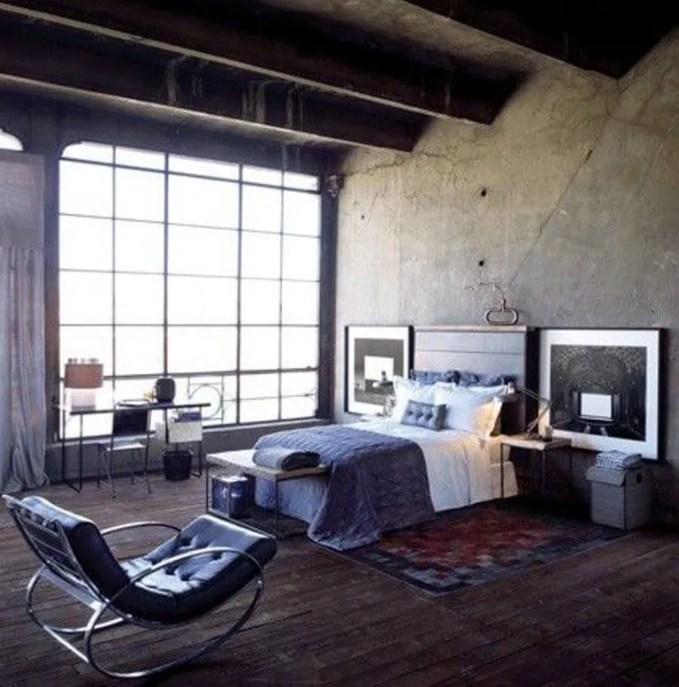 Industrial Bedroom with Concrete Wall