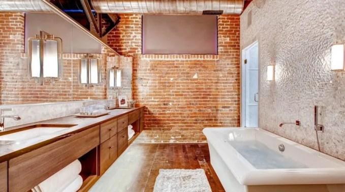 Industrial Chic Bathroom with Brick Walls