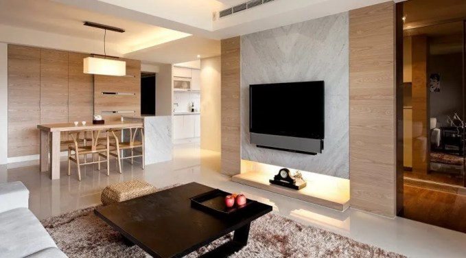 Modern Living Room with Copper FLokati Rug