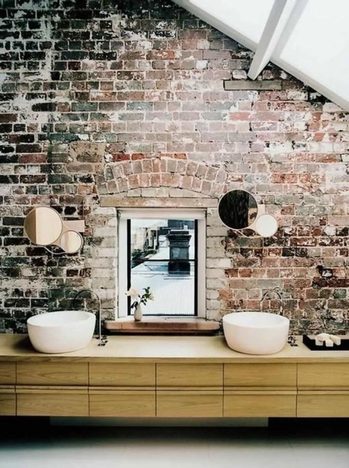 Rustic Bathroom with Brick Walls