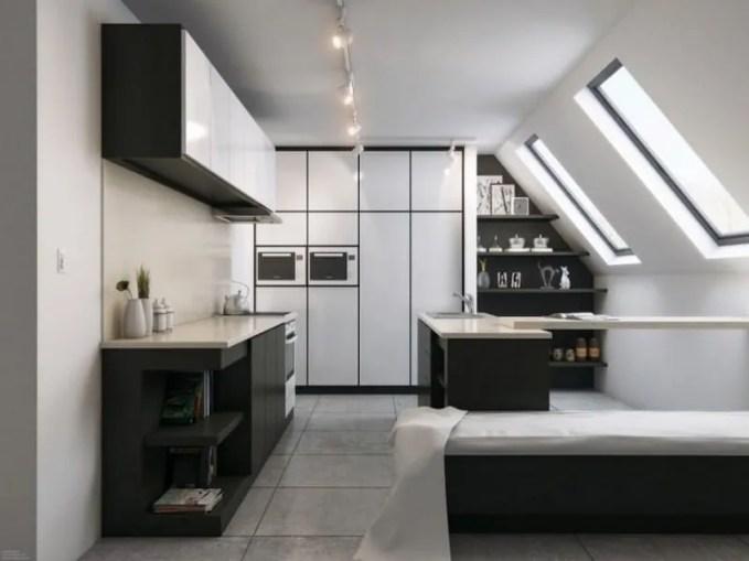 contemporary-black-white-attic-kitchen-design-700x489