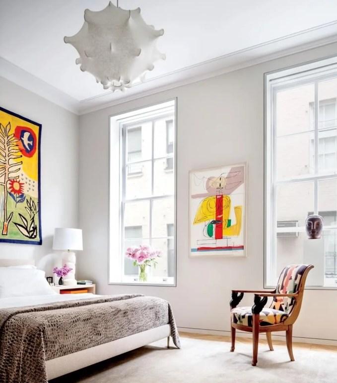 Artistic White Contempoary Bedroom