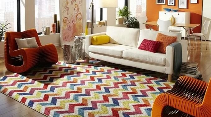 Beautiful Living Room with Chevron Rug