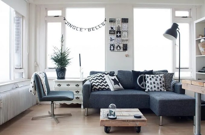 Casual Black and White Living Room