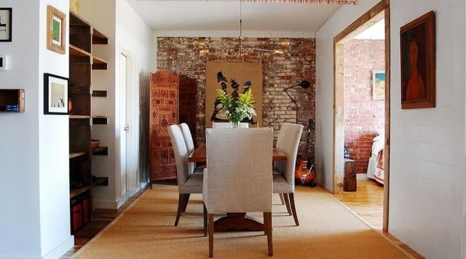 Chic Dining Room with Brick Walls