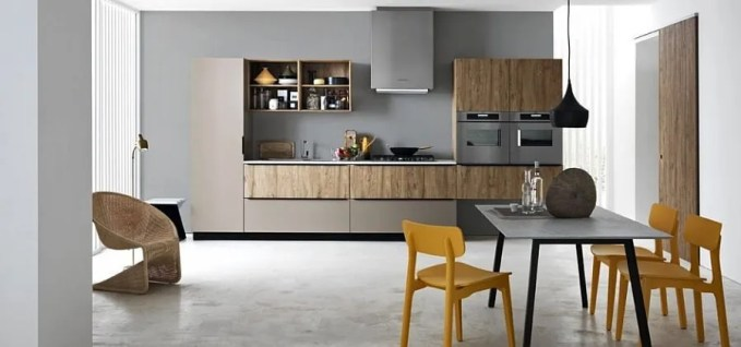 Contemporary Kitchen with pops of yellow