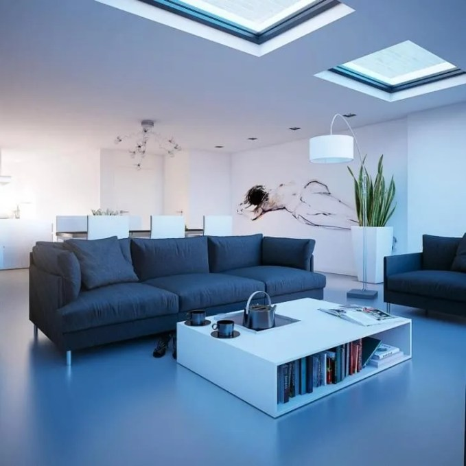 Cool Living Room with skylight