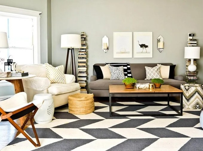 Eclectic Living Room with Chevroon Area Rug