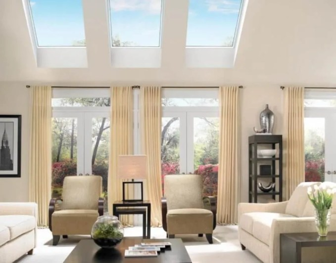 Homey Living Room with skylight