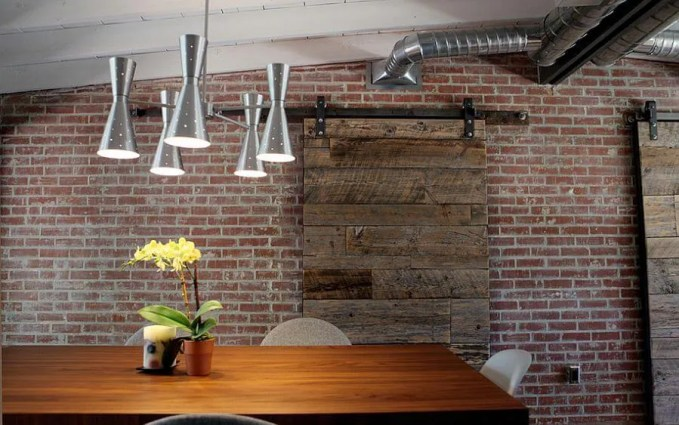 Indsutrial Dining Room with Brick Walls