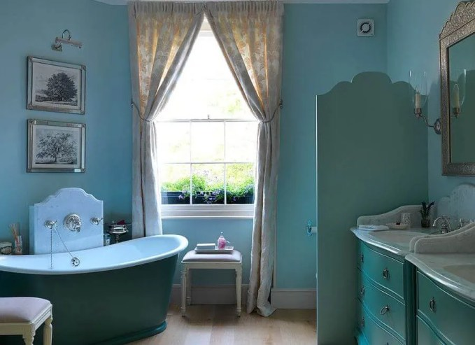 Lovely Blue Eclectic Bathroom