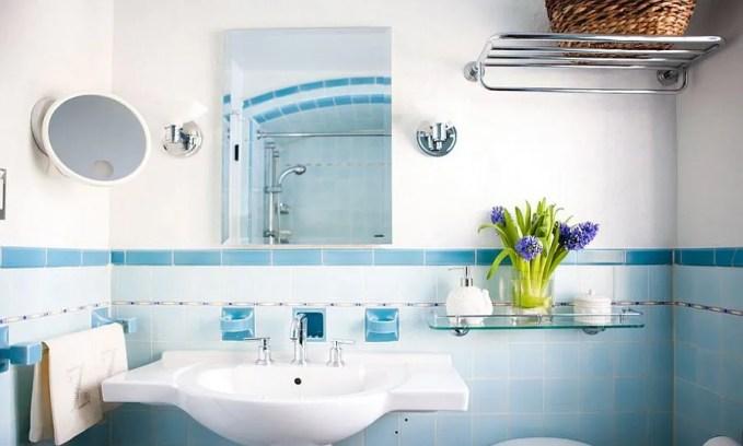 Refreshing Blue Eclectic Bathroom