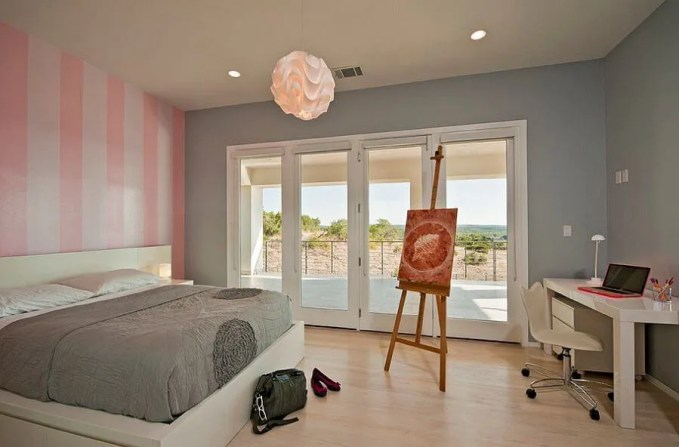 Soft Bedroom with Pink Striped Walls