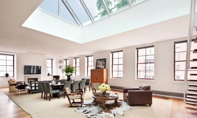 Spacious Living Room with skylight