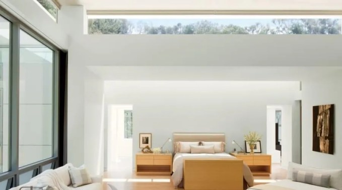White Contempoary Master Bedroom