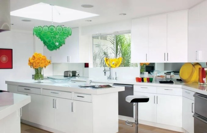 White Kitchen With Colorful Pops