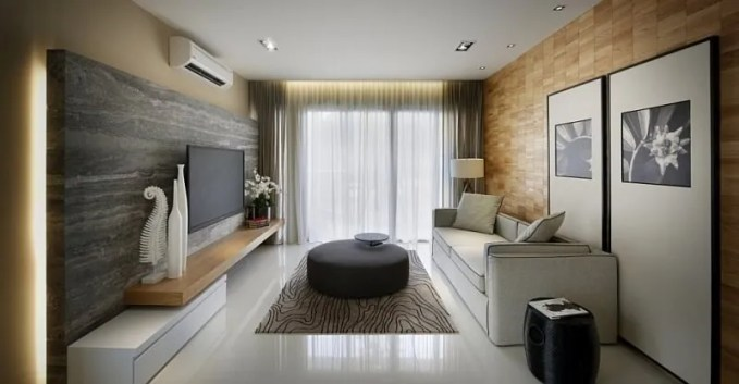 Wood Paneled Black and White Living Room