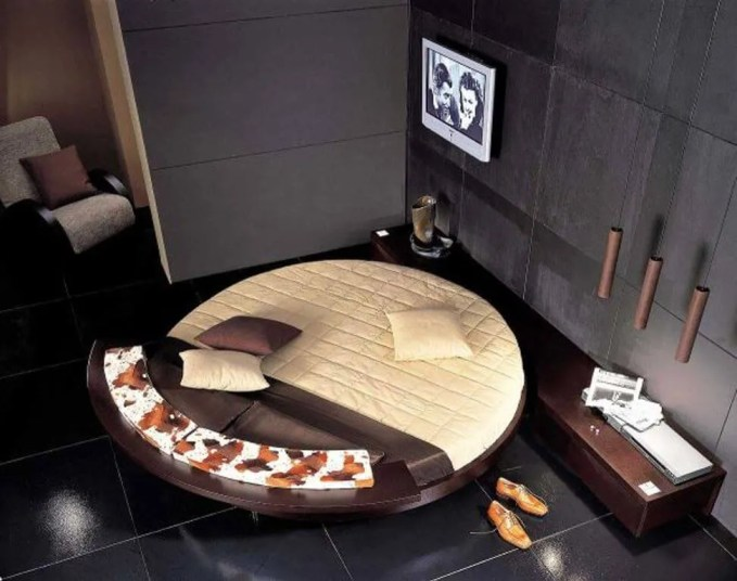 Brown Round Bed