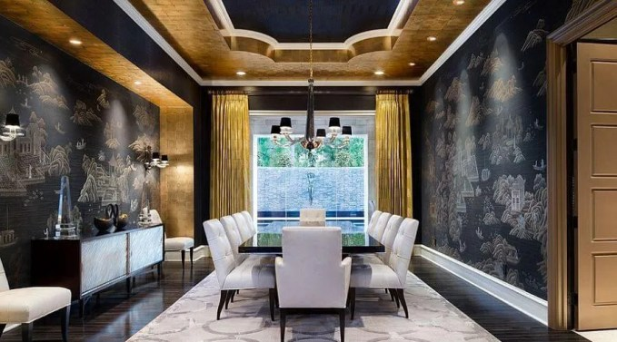 Gold and black MEditeranen DIning Room