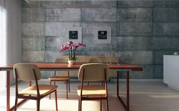 Concrete Wall In 9 Cool Dining Room Interiors