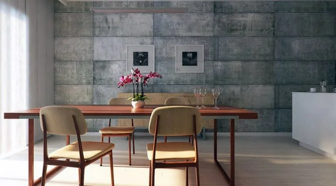 Industrial Chic Dining Room with Concrete Wall