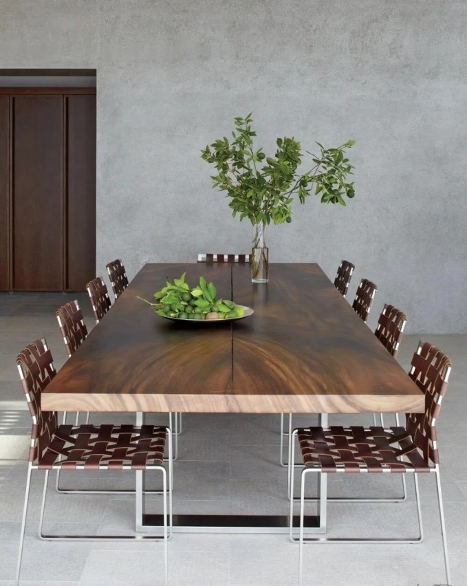 Minimalist Dining Room with Clean Lined Concrete Walls