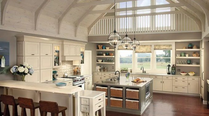 Overhelming-Cupola-Kitchen-Concept-With-High-Ceiling-And-Fancy-Ball-Glass-Pendant-Lights-Over-Square-Silver-Kitchen-Island-Blend-With-Cream-Cabinets-And-Counter-Breakfast-Table-Ideas
