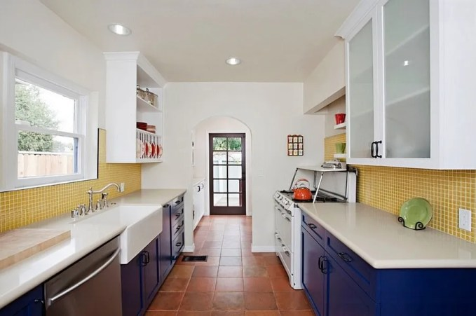 Vibrant Yellow and Blue Kitchen