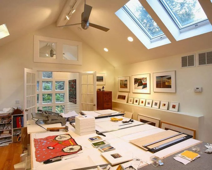 Attic Home Office with Skylight