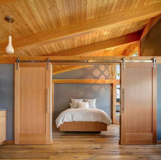 Beautiful-bedroom with oak wood slide doors