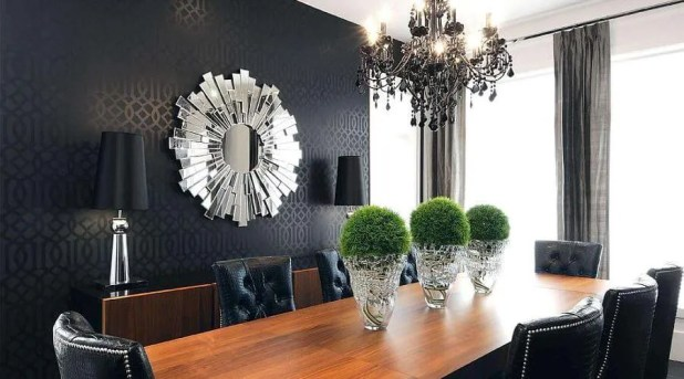 Fierce Black Wallpaper In A Stylish Dining Room