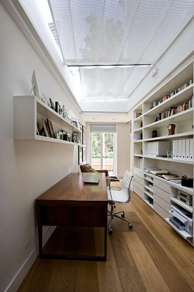 Narrow Home Office with SKylights